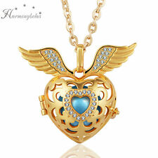 Angel Wing Crystal Heart Pendant Necklace Harmony Ball Locket Mexican Bola Gift