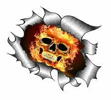 Ripped Torn Metal Look Design Gothic Flaming Skull Fire vinyl car sticker Decal