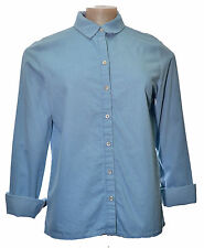 Denim shirt blue long sleeved popper front no pockets UK size 8 10