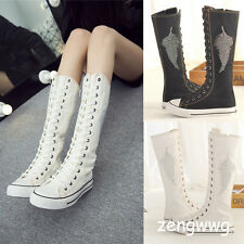 Women Canvas Sneaker Tall Mid Calf Lace Up Knee High Boot Punk Flat Skater Shoes