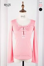 Gorgeous Corset Tie Front Lace Up Long Sleeves Hippie Blouse Top