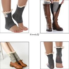 New Women Girls Crochet Knit Lace Trim Button Leg Warmers Boot Cuffs Socks EA77