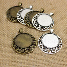 25mm Vintage Bronze/Silver Star Round tray Base Setting Cabochon cameo Pendants