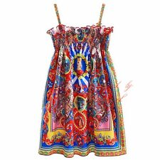 Girls Floral Smocked Dress Kids Spaghetti Strap Princess Holiday Italy Sundress