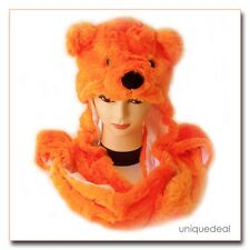 New Animal Winter ORANGE * POLAR BEAR * Mascot Fancy Costume Mask Hat Cap Glove