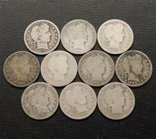 Lot of (10) Silver Barber Quarters 25 Cent  All Different  1898  - 1916  A454A