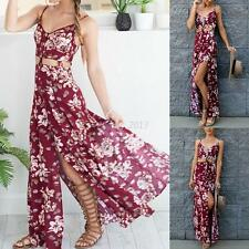 Fashion Women's Summer Floral Boho Maxi Dress Evening Party Beach Dress Sundress