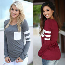 Fashion Women Ladies Casual Loose Tops Long Sleeve T-shirt Summer Blouse Top