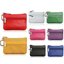 MINI Creative Soft Card Coin Key Holder Zip Genuine Leather Wallet Pouch Bag