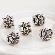 5pcs Fashion crystal European beads Fit charm Bracelet Cute silver plated