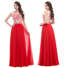 RED Long Chiffon Wedding Ball Gown Evening Prom Party Formal Dress Applique 6-20