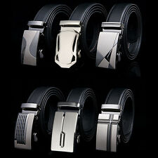 Men Genuine Cowhide Leather Waistband Gents' Automatic Buckle Black Waist Belt