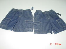 NWT 2 pair Toddler Boys Faded Glory Cargo Jean Shorts New Elastic Waistband