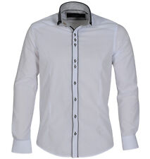 New Mens Guide London Button Down Classic Collar LS73793 Shirt White/Black