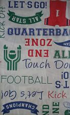 New Vinyl Tablecloth Flannel back FOOTBALL PHRASES theme Round Square Oblong