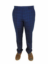 AUSTIN REED Mens Navy Overcheck Wool and Cashmere Classic Fit Suit Trousers