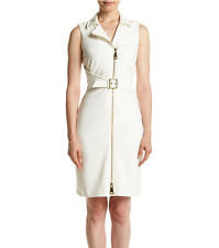 Calvin Klein Belted Zipper Ponte Dress Size 4 Original Price $134 New with Tags