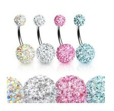4 Pcs Lot Surgical Steel Peridot Crystal Paved Gem Ball Navel Belly Button Ring
