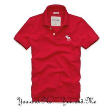 NEW ABERCROMBIE & FITCH KIDS * A&F Boys Cotton Classic Pique Polo Shirt Red M-L