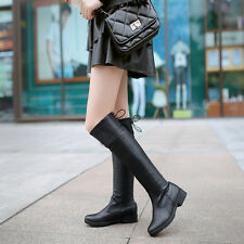 2016 Womens Ladies Low Heel Lace Up Round Head Knee High Boots Shoes US Size