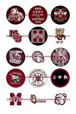 """MISSISSIPPI STATE BULLDOGS 1"""" CIRCLES  BOTTLE CAP IMAGES. $2.45-$5.50"""