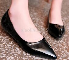 Stylish Womens Pointed Toe Faux Patent Leather Flats Slip On Candy Jelly Shoes