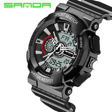 Unique Mens Stainless Steel LED Date Waterproof Sports Army Quartz Wrist Watch