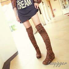 Sexy Womens Stretchy Over The Knee High Boots Wedge Heel Slouch Leopard Boots SZ