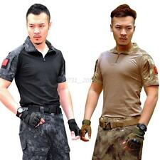 Men Army Combat Military Tactical T-Shirt Short Sleeve Tops Hunting Shirt Blouse