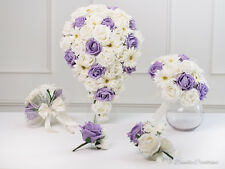 Rose & Daisy Bridal Bouquet in Ice Lilac & Ivory, Bridesmaids, Flower Girl,