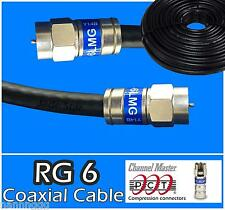 RG6 PCT F 0.5 - 300 Ft Black Coaxial Coax Cable Wire Satellite HD Antenna TV lot