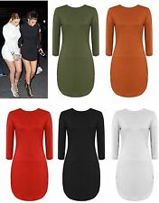 Women Ladies Long Sleeve Curve Hem Stretch Bodycon Party Mini Tunic Dress 8-14