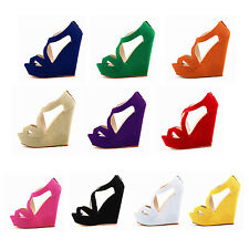 WOMENS HIGH HEELS WEDGE LADIES PLATFORM SANDALS STRAPPY SHOES CROSSOVER SYH