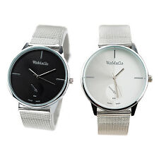 WOMAGE Classic Men's Quartz Stainless Steel Wrist Watch Black SYH