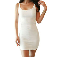 Women Scoop Neck Sleeveless Pullover Casual Tank Dresses WHITE Asia-XXL SYH