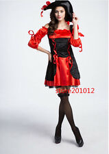 Sexy Womens Pirates Costume Halloween Caribbean Captain Cosplay Fancy Dress