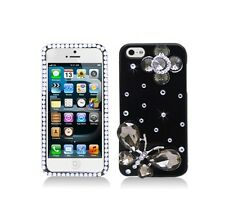 For Apple iPhone SE 5 5S 3D Jeweled Butterfly Flower Black Case Skin Cover Bling