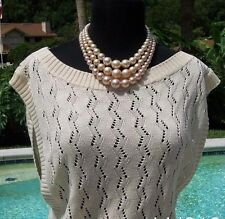 Cache $118 PEEK-A-BOO CROCHET SAND KNIT Top NWT S/M/L STRETCH COTTON