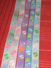 "Grosgrain Baby Footprints Ribbon 9mm (3/8"") 5 yards each (4.6mtr ea), 4 colours"