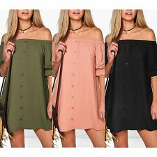 Sexy Womens Strapless Off Shoulder Dress Ladies Casual Club Loose Mini Dress JN