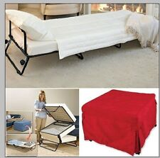 Ottoman Folding Bed Convertible Sofa With Inverted Pleat Slip Cover & Casters