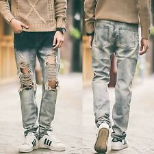 Men Smart Casual Denim Distressed Frayed Ripped Destroyed Pants Trousers Jeans