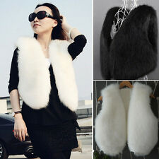 1x Womens Faux Fur Vest Winter Warm Short Outerwear Coat Jacket Waistcoat #YL