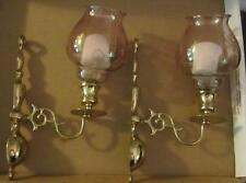 Pair of Vintage Brass & Light Smoky Glass Sconce Candle Holders