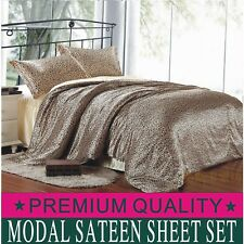 Premium Leopard 4pc Bed Sheet Set Flat Fitted Sheet Pillowcase Modal WrinkleFree