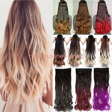 100% Natural Hairpiece Straight Wavy Hair Extension real Half Full Head Clip in