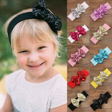 Baby Infant Girls Kids Hair Band Sequined Bow Headband Turban Hair Accessories