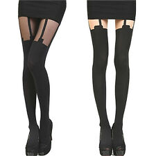 Womens Sexy Thigh High Over Knee Stockings Suspender Sheer Black/Opaque AS