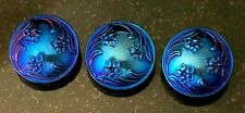3  Large Deep Cobalt Blue Flowers Floral Czech Glass Buttons 28mm Buttons 1 1/8""