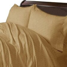 Taupe Striped Complete Bedding Collection 1000tc Egyptian Cotton Queen Size